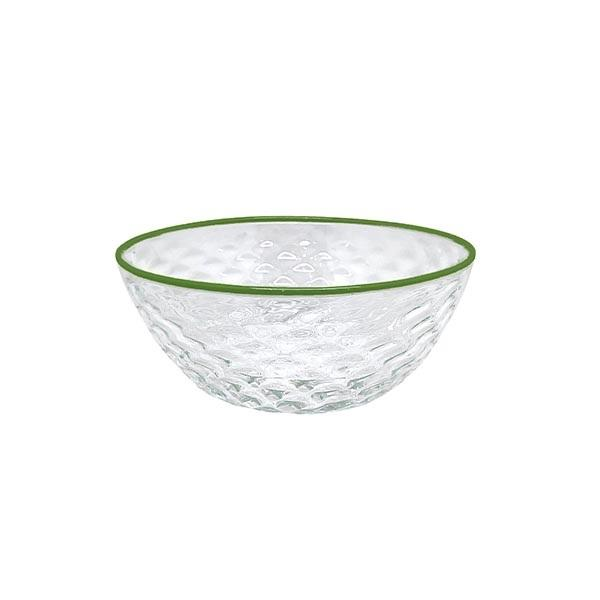 Pineapple Textured Small Bowl, Green Rim