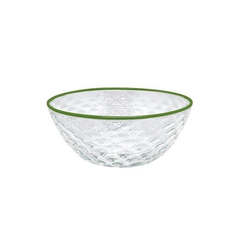 Pineapple Texture Small Bowl, Green Rim | Mariposa Bowls