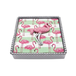 Pink Flamingo Beaded Napkin Box | Mariposa Napkin Boxes and Weights