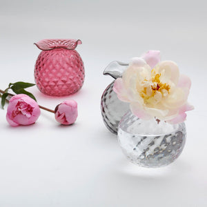 Mariposa Handblown Pink Pineapple Bud Vase, Gray Pineapple Bud Vase, Clear Pineapple Bud Vase