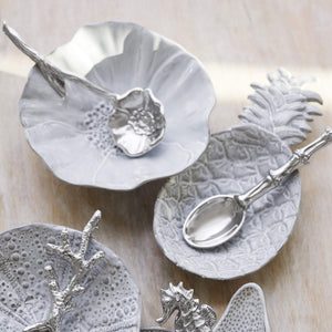 Poppy Ceramic Canape Plate with Poppy Spoon-Canape and Small Plates-|-Mariposa