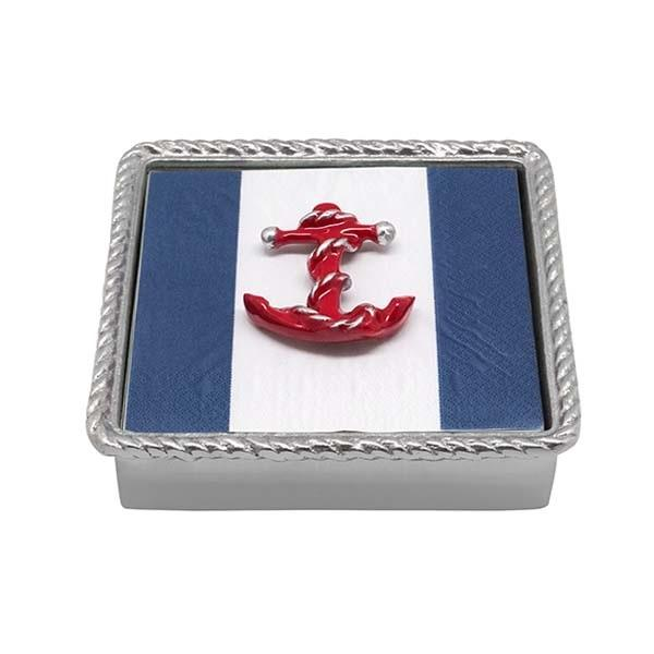 Red Anchor Rope Napkin Box | Mariposa Napkin Boxes and Weights