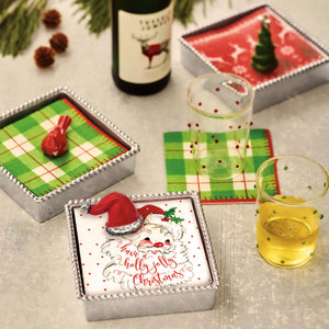 Red Santa Hat Beaded Napkin Box-Napkin Boxes and Weights | Mariposa