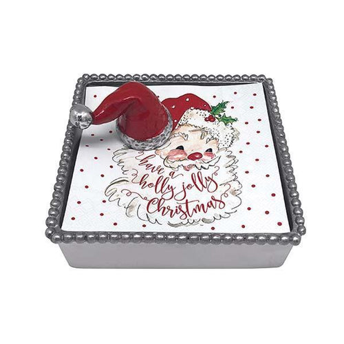 Mariposa | Red Santa Hat Beaded Napkin Box