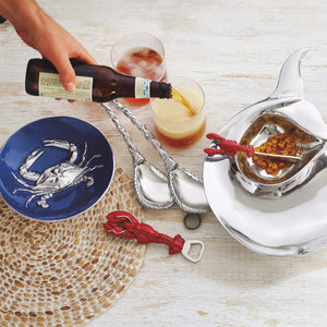 Rope Ceramic Oval Plate with Rope Spreader-Nut and Sauce Dishes-|-Mariposa