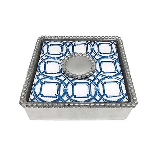 Round Pearl Beaded Napkin Box | Mariposa Napkin Boxes and Weights