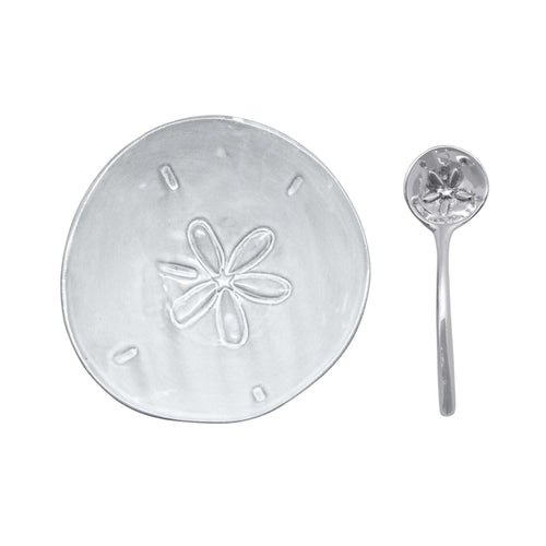 Sand Dollar Ceramic Canape Plate with Sand Dollar Spoon | Mariposa Ceramics