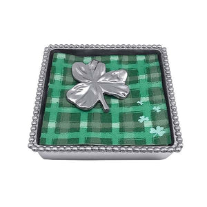 Shamrock Beaded Napkin Box | Mariposa Napkin Boxes and Weights