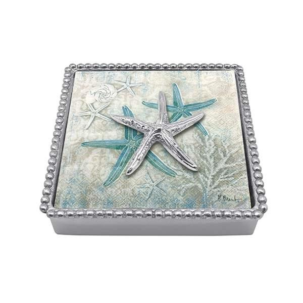 Spiny Starfish Beaded Napkin Box | Mariposa Napkin Boxes and Weights