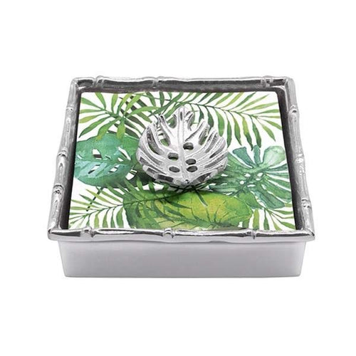 Tropical Leaf Bamboo Napkin Box | Mariposa Napkin Boxes and Weights