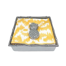 Load image into Gallery viewer, Tropical Pineapple Bamboo Napkin Box | Mariposa Napkin Boxes and Weights