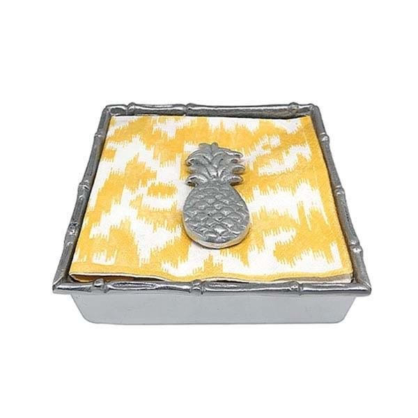 Tropical Pineapple Bamboo Napkin Box | Mariposa Napkin Boxes and Weights