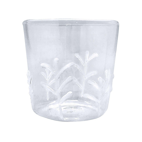White Appliqué Branches Double Old Fashion Glass | Mariposa Glassware