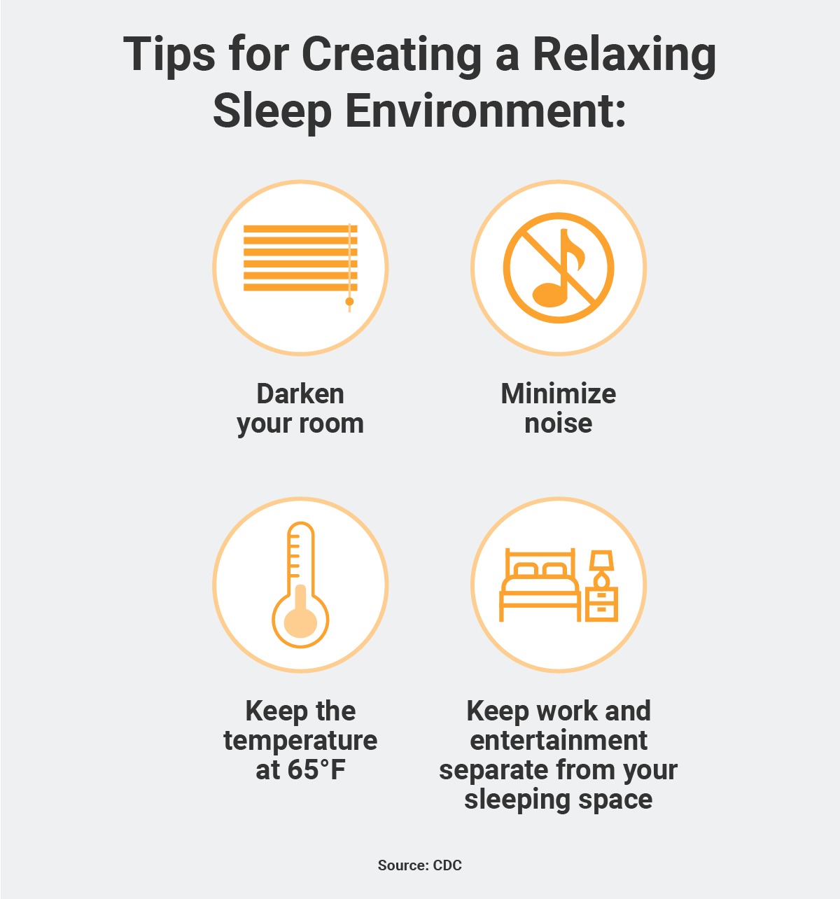 Tips for creating a relaxing sleep environment infographic