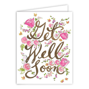 Get Well Soon Pink Flowers Greeting Card