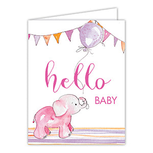 Hello Baby Pink Elephant Greeting Card