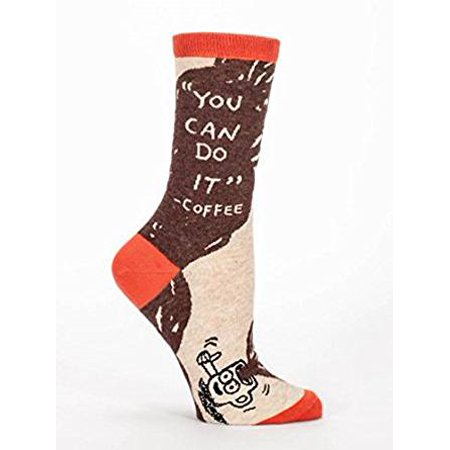 blue q Crew Socks -You Can Do It Coffee