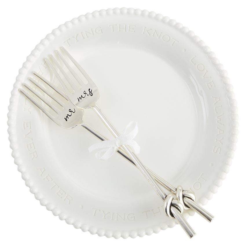 Tied the Knot Beaded Fork Plate Set