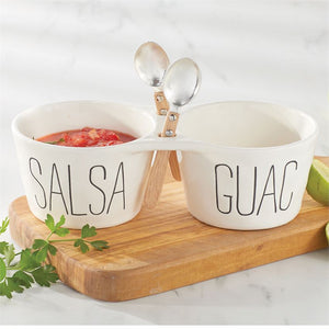 Ceramic Salsa & Guac Double Dip Set