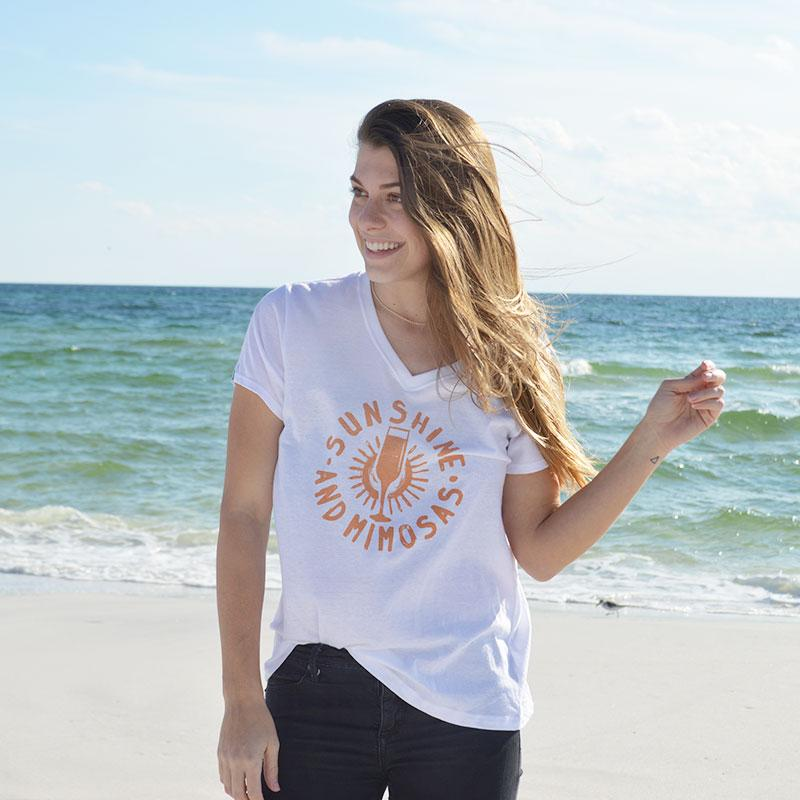 30A Sunshine & Mimosas V-Neck -White