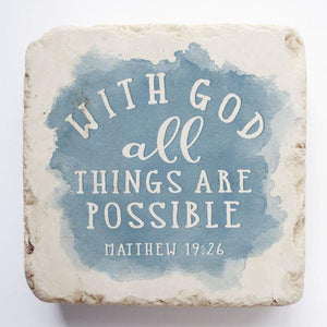 Small Scripture Block -Matthew 19:26 Blue Watercolor