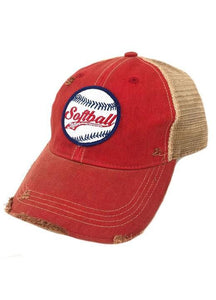 JM Softball Mom Patch Hat -Red