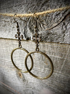 Funky Trunk Vintage Square Cross Brass Circle Earrings