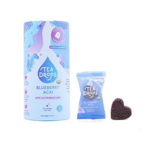 Tea Drops Canister -Blueberry Acai White