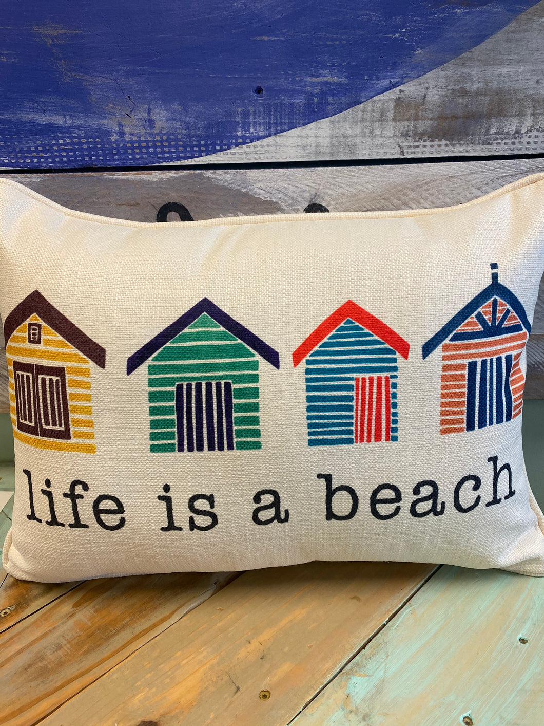 Life Is A Beach Piped Throw Pillow
