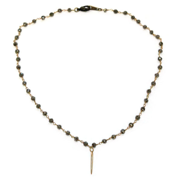 RSD Pyrite Chain Tiny Gold Spike Necklace