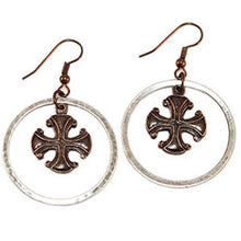 Load image into Gallery viewer, RSD Silver Ring Crusader Cross Earrings