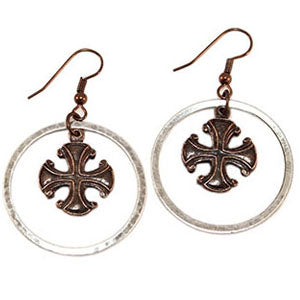 RSD Silver Ring Crusader Cross Earrings
