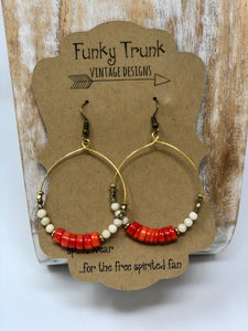 Funky Trunk Vintage Collegiate Game Day Earrings -Orange