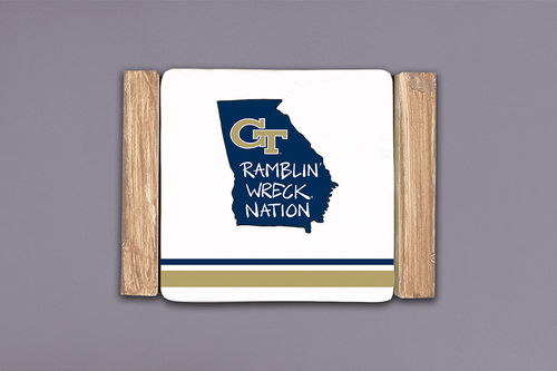 Georgia Tech Striped Coaster Set