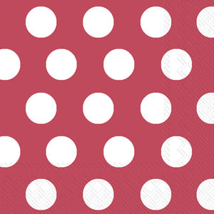Lunch Napkins -Big Dots -Crimson/White
