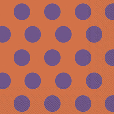 Lunch Napkins -Big Dots -Orange/Purple