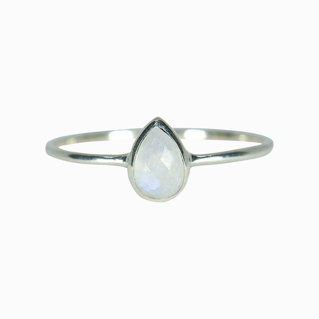 puravida Teardrop Moonstone Ring-Silver