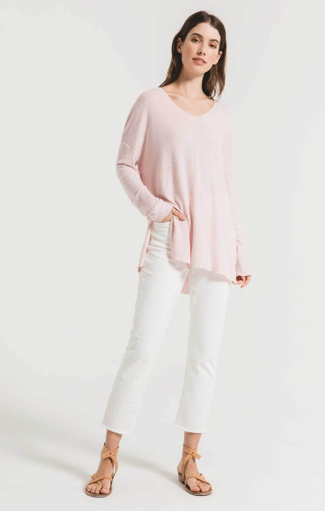 Z Supply Marled VNeck Tunic -Blush