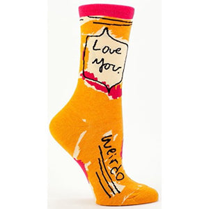 blue q Crew Socks -Love You Weirdo