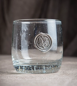 "Southern Jubilee ""Initial"" Medallion Double Old Fashion Glass"