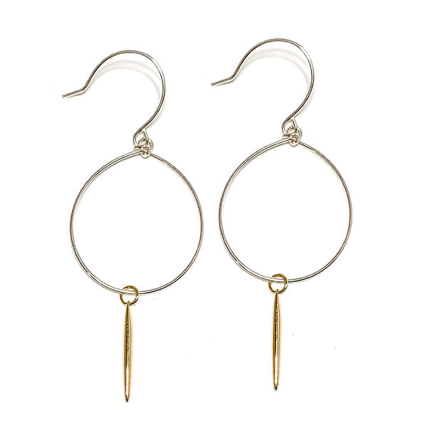 RSD Silver Loop Gold Spike Earrings