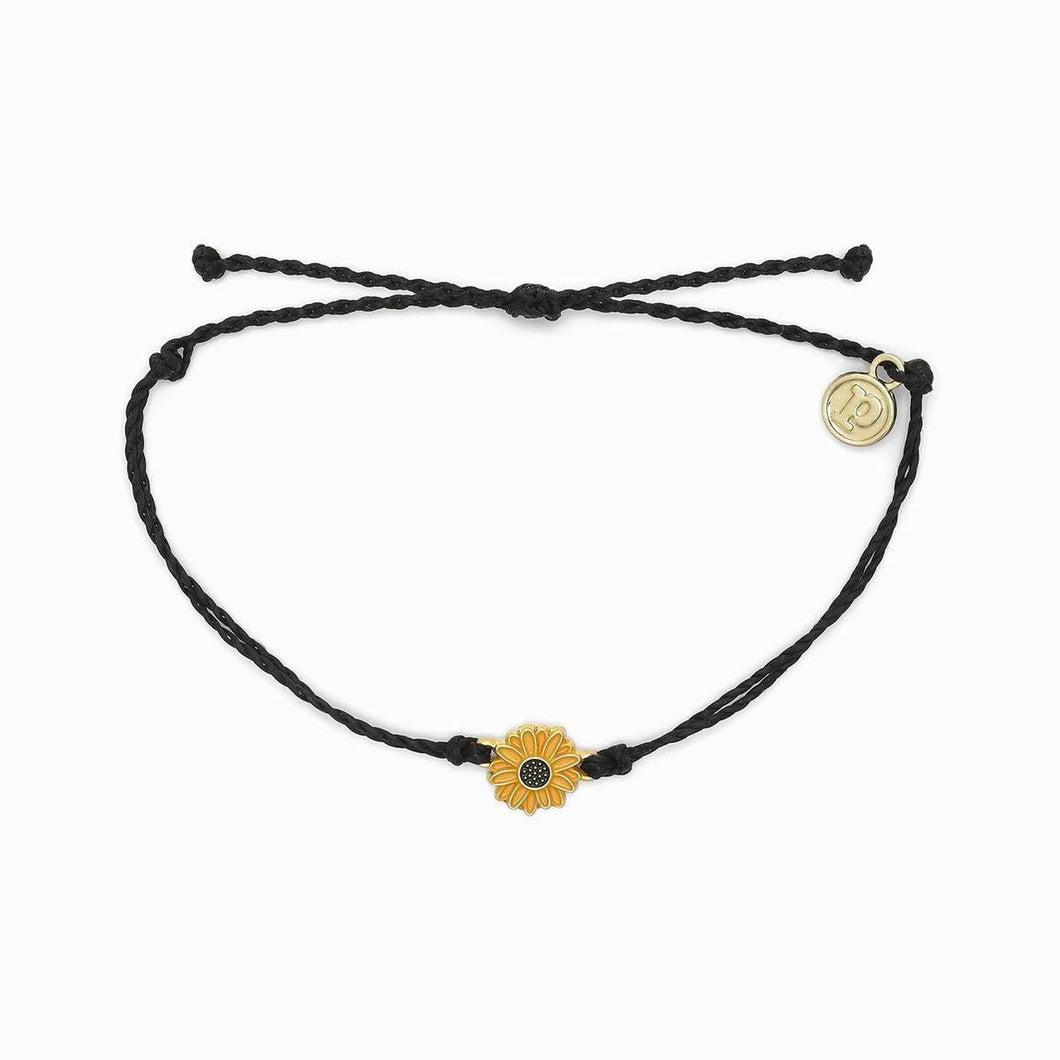 puravida gold sunflower bracelet -black