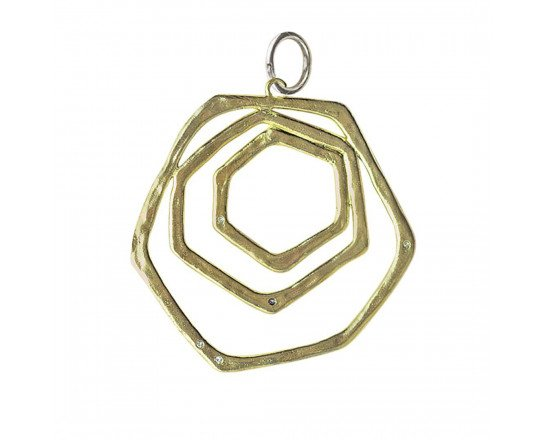 Waxing Poetic Honey Love Triple Honeycomb Pendant -B/SS