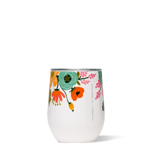 Corkcicle Stemless Wine -Rifle Paper Lively Floral -Cream