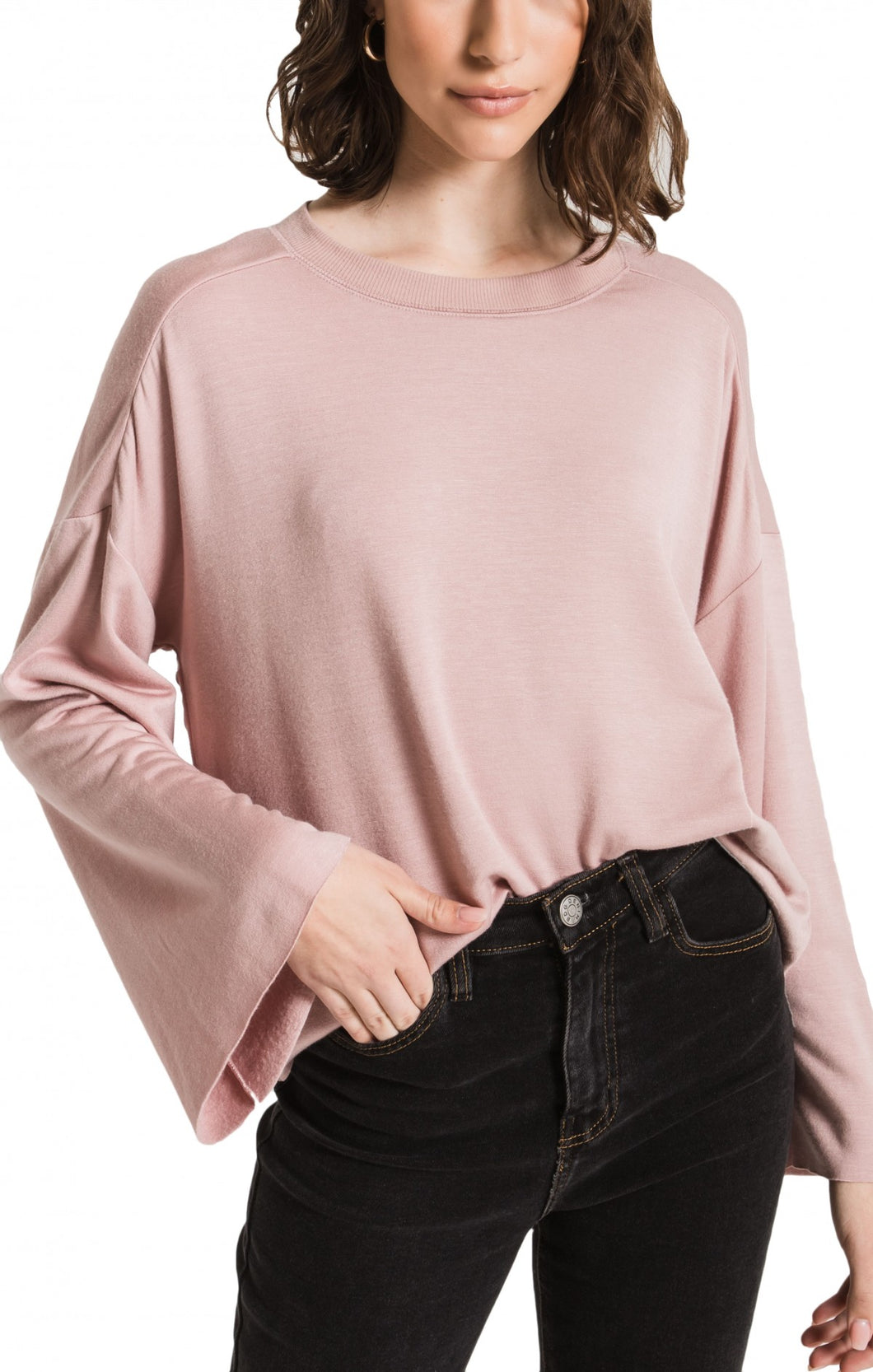 Z Supply Fleece Flare Sleeve Pullover -Rose
