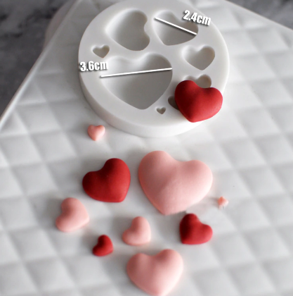 3D Hearts Silicone Baking Mold