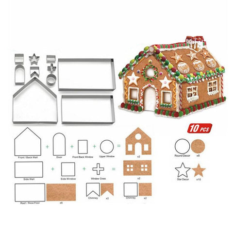 10pcs/Set Christmas House Cookie Cutter