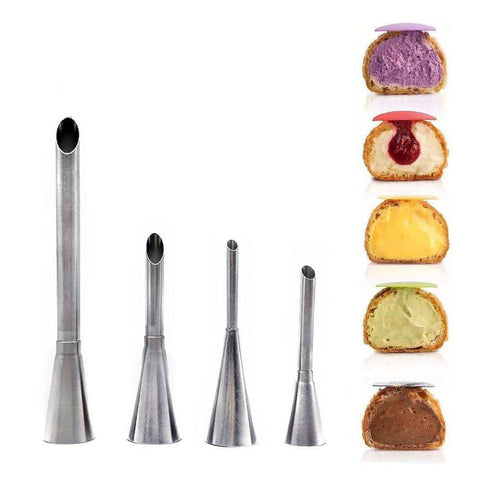 4 pcs/Set Eclair Puff Nozzle Stainless Steel