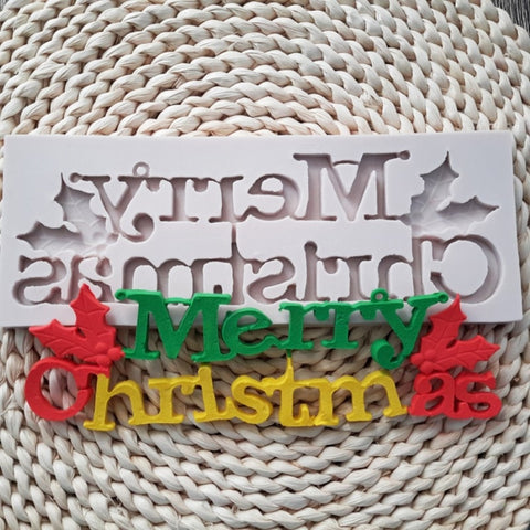 3D Merry Christmas Letters Alphabet Baking Mold