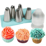 7pcs/Set #2D #2F #1M #2C #195 Piping Tips + Coupler and Pastry Bag